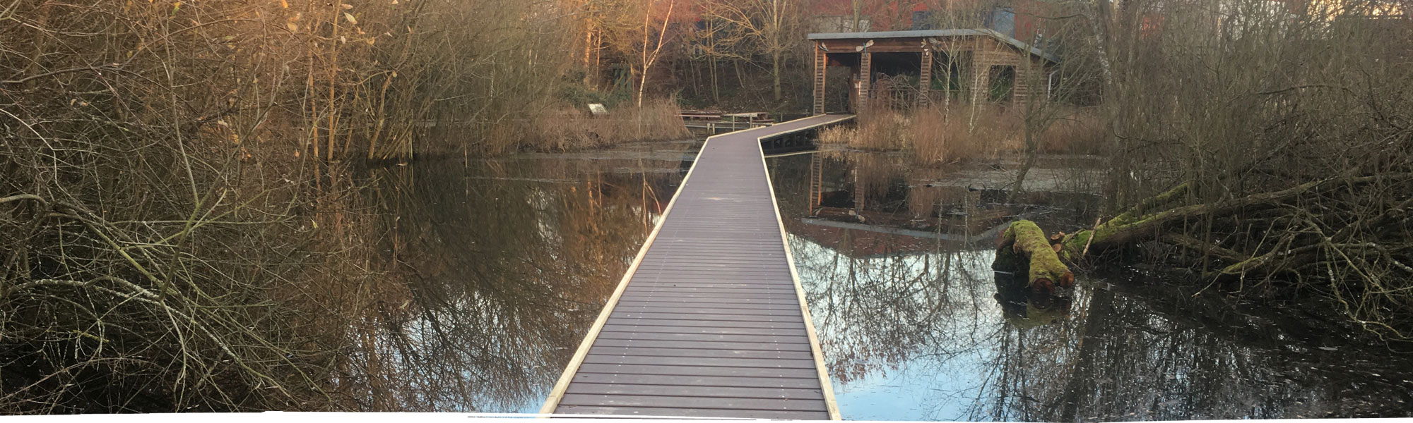 Bridge across pond to conservation hut